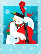 A happy snowman playing an upright bass