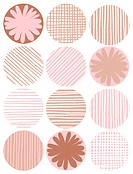 A brown and pink pattern of decorative circles