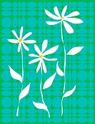 White flowers on a contemporary blue and green pattern background