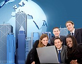 Worldwide business team on a laptop with an urban background