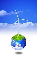 Environmental Conservation, Digitally generated image of windmill on the earth