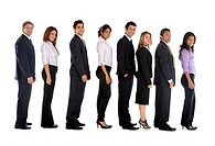 Group of full body business people lined up isolated