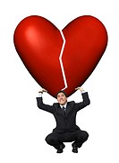 business man lifting a broken heart isolated