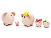 Piggybank family isolated over a white background
