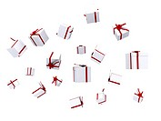 gifts falling down over white _ good for a background