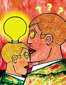 An illustration of two figures _ one with a light globe illuminated above his head