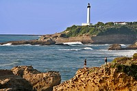 SEAFRONT AND LIGHTHOUSE, BIARRITZ, BASQUE COUNTRY, BASQUE COAST, PYRENEES_ATLANTIQUE 64, FRANCE