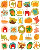 A pattern of pumpkins, moose, leaves and harvest in the autumn