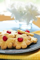 Fresh shortbread cookies served on a plate