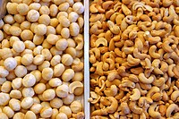 STAND OF DRIED FRUIT CASHEWS AT THE MARKET 'LA BOQUERIA', CULINARY TEMPLE BECOME ONE OF THE BIGGEST MARKETS IN EUROPE, 'EL RAVAL' NEIGHBORHOOD, BARCEL...