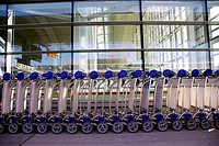 Luggage carts at modern international airport