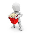 3D render of someone holding a carton of popcorn