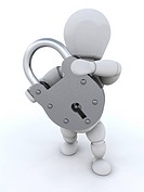 Person holding closed padlock