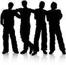 Silhouette of a group of male friends