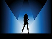 Silhouette of a sexy female under spotlights