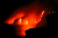 Molten Lava flows into Ocean, Kilauea, Hawaii Volcanoes National Park, Big Island, Hawaii, USA