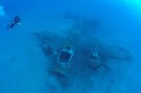 Diver at B 25 Mitchell Bomber Wreck, Mediterranean Sea, Corsica