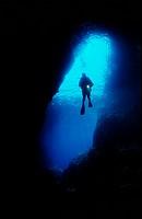 scuba diver in cave, Adriatic sea Mediterranean sea, Croatia