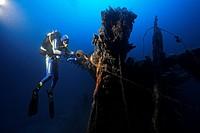 Scuba Diver on Shipwreck, Krk Island, Adriatic Sea, Croatia