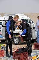 Jeep safari in egypt, scuba diver checking equipment, El Quseir, Red Sea, Egypt
