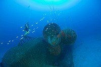 Diver at Propeller of Wreck USS Anderson Destroyer, Bikini Atoll, Micronesia, Pacific Ocean, Marshall Islands