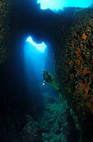 Cave and Diver, Susac Island, Adriatic Sea, Croatia