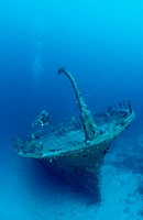 Shipwreck and scuba diver, Indian Ocean Ari Atol Maayafushi, Maldives Island
