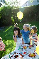 Children at outdoor birthday party