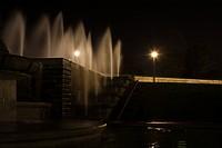 Fountain illuminated at night, Paris, France