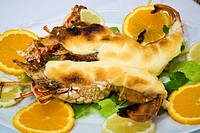 Lobster with garlic mayonnaise. Can Aguedet restaurant. Es Mercadal. Minorca. Balearic Islands. Spain.