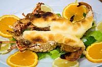 Lobster with garlic mayonnaise. Can Aguedet restaurant. Es Mercadal. Minorca. Balearic Islands. Spain.