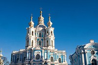 Russia, St Petersburg, Smolny cathedral.