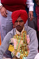 India, Punjab, Tarn Taran, young sikh groom