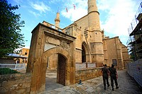 Cyprus, Nicosia, the mosque of Selim, soldiers
