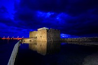 Cyprus, Paphos, the Paphos castle at night
