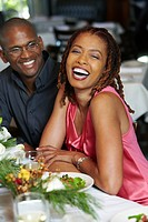 African American couple having dinner in restaurant