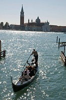 Italy, Venice. Gondola on the Grand Canal