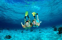 Two snorkeling girls, Indian Ocean, Maldives