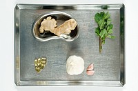 Herbal medicine on surgical tray
