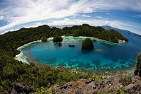 Aerial view of limestone Raja Ampat islands, Uranie Island, Raja Ampat, Indonesia