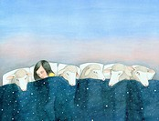Woman sleeping among sheep