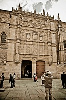 Plateresque fa&#231;ade of old Escuelas Mayores, University of Salamanca  Castilla-Le&#243;n, Spain