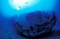 Scuba Diver on Teti Wreck, Vis Island, Dalmatia, Adriatic Sea, Croatia