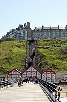 Saltburn Cliff Tramway and Victorian pier, Cleveland,England