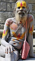 Portrait of a sadhu in the Pashupatinath temple in Kathmandu