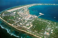 Aerial view of airport and military base in Kuwajelein island, Kuwajelein Atoll, Pacific, Marshall Islands