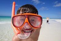 Happy Boy wearing snorkel, Playa Pilar, Cayo Guillermo, Cuba