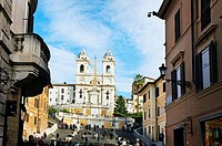 Spanish Steps and Church of Trinita dei Monti. Rome. Lazio.Italy.