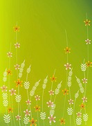 Illustration and painting of floral pattern in green background