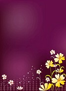 Illustration and painting of flowers in purple background